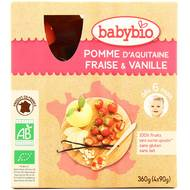 3288131540108 - Babybio - Mes Fruits - Gourde pomme fraise vanille dès 6 mois, bio