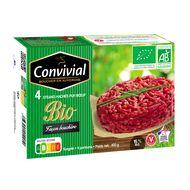 3463490012910 - Convivial - 4 Steaks hachés façon bouchère pur boeuf Bio 15% MG