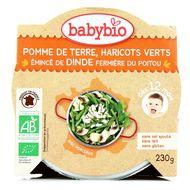 3288131501611 - Babybio - Pomme de terre, haricots verts, émincé de dinde fermière du Poitou bio dès 12 mois