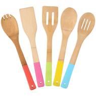 8711252040912 -  - 5 ustensiles de cuisine colorés en bambou