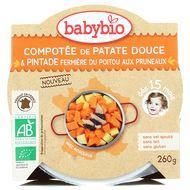3288131530628 - Babybio - Compotée de patate douce et pintade fermière du Poitou aux pruneaux bio, dès 15 mois