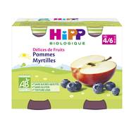 4062300055629 - Hipp - Délices de Fruits - Pommes Myrtilles bio, dès 4/6 mois