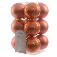 3602904972932 - Cora - Boîte de 12 boules soft orange plastique brillant mat