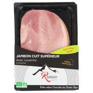 3507170902433 - Rostain - Jambon cuit bio avec couenne 180g, sans nitrite ajouté