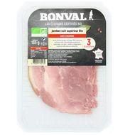 3760099534134 - Bonval - Jambon bio cuit supérieur avec couenne 135g