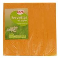 3257980894434 - Cora - Serviettes papier jaune safran 2 plis