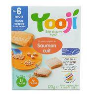 3760234509034 - Yooji - Saumon Pêche durable MSC haché, cuit et surgelé en galets dès 6 mois