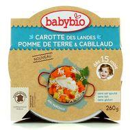 3288131530536 - Babybio - Carottes des Landes, Pommes de terre et Cabillaud bio, dès 15 mois