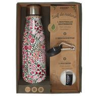 3664944222538 - Cook concept - Coffret bouteille isotherme fleur + pochon + mousqueton