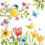 4021766235440 - Paperproducts Design - Serviettes papier Spring Bird 33x33 cm