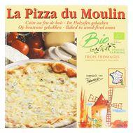 3273640001141 - La Pizza du Moulin - Pizza 3 fromages Bio cuite au feu de bois- Emmental, mozzarella et gorgonzola