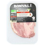 3760099534141 - Bonval - Jambon Cuit supérieur, bio, avec Couenne 180g
