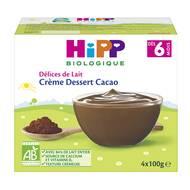 4062300205246 - Hipp - Délices de Lait - Crème dessert Cacao bio, dès 6  mois