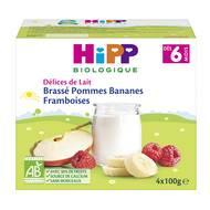 4062300224551 - Hipp - Délices de Lait - Brassé Pommes Bananes Framboises bio, dès 6 mois