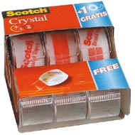 0051131674851 - Scotch - 3 Dévidoirs rubans adhésifs crystal 7,5 m x 19 mm