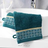 3574388012056 - Douceur D Interieur - 2 Gants de toilette Belina Bleu