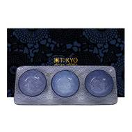8719323535756 - Tokyo Design Studio - Coffret assiette + 3 bols Nippon Blue Wave/Dot