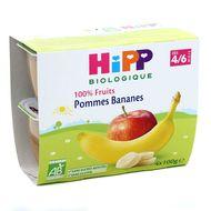 4062300028357 - Hipp - Coupelles Pommes Bananes bio dès 4/6 mois