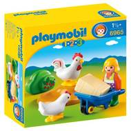 4008789069658 - PLAYMOBIL® 1.2.3 - Agricultrice avec brouette et coq