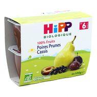 4062300205062 - Hipp - Coupelles Poires Prunes Cassis bio, dès 6 mois