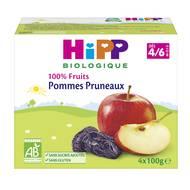 4062300126664 - Hipp - Coupelles Pommes Pruneaux bio, dès 4/6 mois