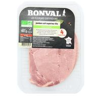 3760099534165 - Bonval - Jambon Cuit supérieur, Bio, sans couenne 180g