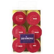3065876146266 - Devineau - Bougies chauffe-plats brossées rouge pailletées
