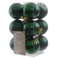 3602904972871 - Cora - Boîte de 12 boules vertes plastique brillant mat