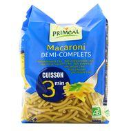 3380380087271 - Priméal - Macaroni demi complet bio cuisson 3mn