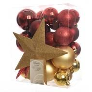 3602905123340 -  - Boîte boules plastique rouges et or + cimier