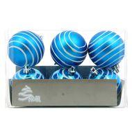 3602904749282 - Cora - Boîte de 6 boules bleu avec rayures