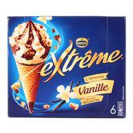 Extrême - 6 cônes glacés vanille et pépites de nougatine 6x120ml