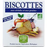 3268350120695 - Le Moulin Du Pivert - Biscottes bio aux céréales et aux graines