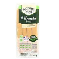 3483190012096 - Bioporc - Knack de porc fumée bio x4