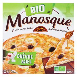 La Pizza De Manosque Pizza Bio Chèvre Miel base crème cuite au feu de bois de chêne et de hêtre