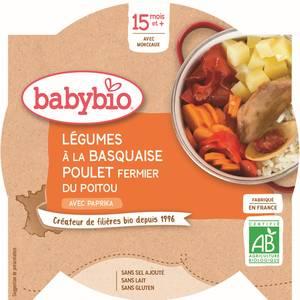 Babybio - P'tit Plat Légumes à labasquaise et poulet du Poitou Bio, dès 15 mois