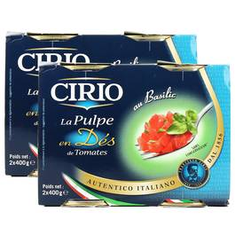 La pulpe en dés de tomates au Basilic, Lot de 2 paquets de 2x,CIRIO,2x
