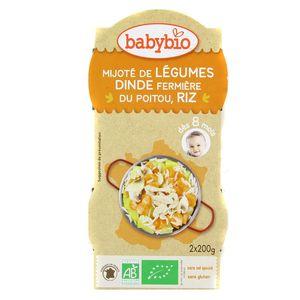 Babybio - Menu Du Jour Mijoté de légumes dinde et riz Bio dès 8 mois