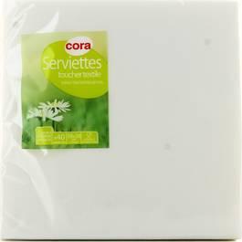 Cora Serviettes papier toucher textile blanches