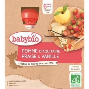 Babybio - Mes Fruits Gourde pomme fraise vanille dès 6 mois, bio