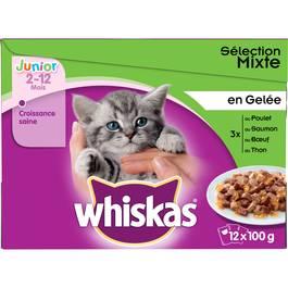 Whiskas Junior Sachets fraîcheur en gelée 4 variétés pour chaton