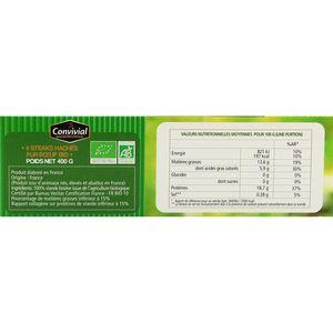 Convivial 4 Steaks hachés façon bouchère pur boeuf Bio 15% MG 4x100g