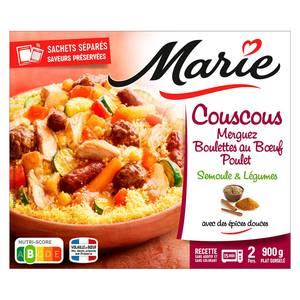 Marie Couscous merguez, boulettes au boeuf, poulet, semoule et légumes avec des épices douces