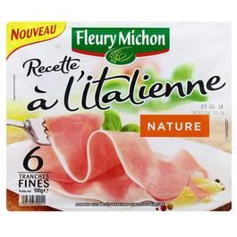 Jambon cuit nature sans couenne recette à l'italienne, 6 tranches fines FLEURY MICHON, 100g