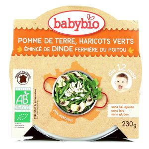 Babybio Pomme de terre, haricots verts, émincé de dinde fermière du Poitou bio dès 12 mois