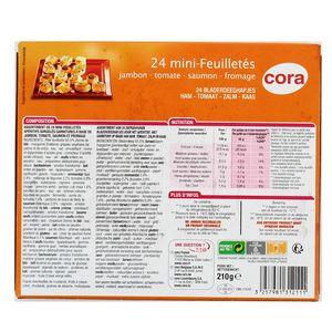 Cora 24 Minis feuilletés apéritifs- Jambon, tomate, saumon, fromage