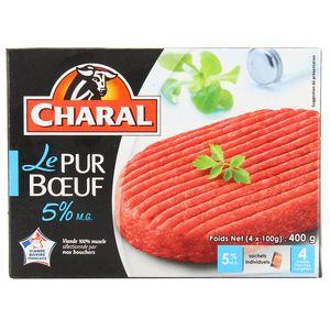 Charal 4 Steaks hachés pur boeuf 5% Mg 4x100g