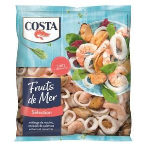 Costa Mélange de fruits de mer- Crevettes du Pacifique, Calamars, et moules du Pacifique, cuits
