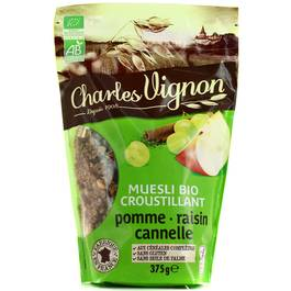 Charles Vignon Muesli croustillant pomme, raisin, cannelle bio sans gluten