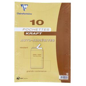 Clairefontaine 10 Pochettes kraft auto-adhésives